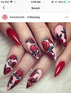 Water Decals Red Rose Stiletto Nail Art Design