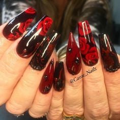 Red Rose Coffin Nail Art Design