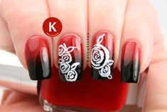 Ombre Red Rose Nail Art Design