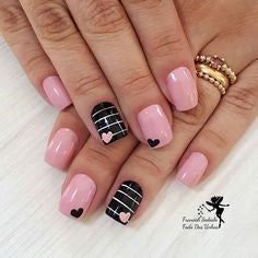 Pink and Black Nail Design for Valentine's Day