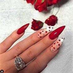 Love Stiletto Nail Design for Valentine's Day