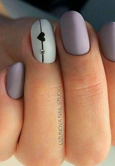 Matte White Nail Design for Valentine's Day