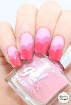 Ombre Pink Nail Design for Valentine's Day