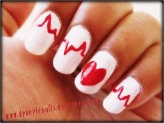 Heart Beat Nail Design for Valentine's Day
