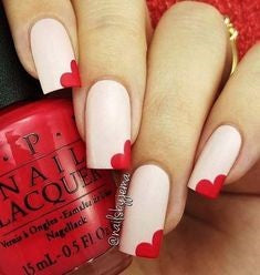 Corner Love Nail Design for Valentine's Day