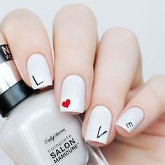 Simple Letter Nail Design for Valentine's Day