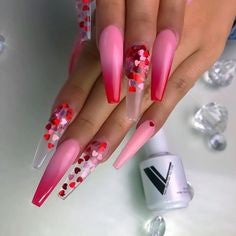 Sequins Nail Design for Valentine's Day