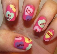 Sweet Words Nail Design for Valentine's Day