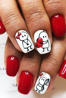 Cute villain Nail Design for Valentine's Day