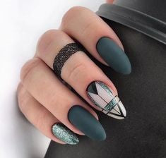 Matte Green Nail Design for Valentine's Day