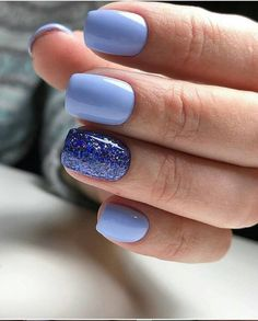 Blue Gel Short Nails