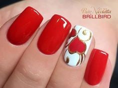 Red and Gold Nail Design for Valentine's Day