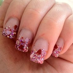French Sequins Pink Nail Design for Valentine's Day