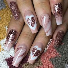 Marble Nail Design for Valentine's Day