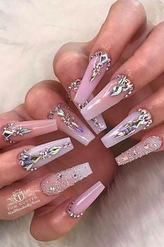 Rhinestone Long Nail Design for Valentine's Day