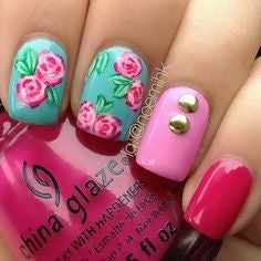Rose Nail Design for Valentine's Day