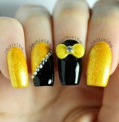 Yellow and Black Nail Design for Valentine's Day
