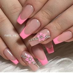 French 3D Cherry Blossoms Nail Design