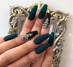Green 3D Jewelry Nail Design