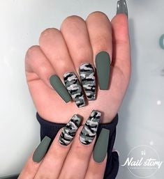Green Camouflage Coffin Nail Design