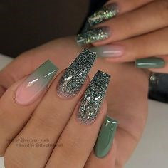 Green Ombre Glitter Coffin Nail Design