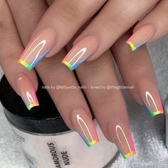 French Rainbow Coffin Nail Design