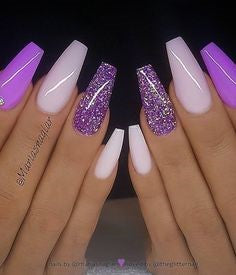 Purple Coffin Nail Design