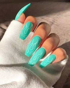 Turquoise Flame Coffin Nail Designs