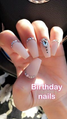 Rhinestone Coffin Nail Design