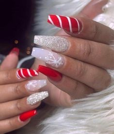 Christmas Coffin Nail Design