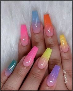 Colorful Ombre Coffin Nail Design