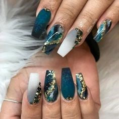 Dark Green Marble Jewelry Coffin Nail Design