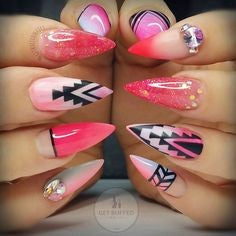 Pink Stiletto Aztec Nail Idea