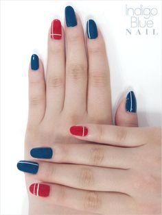 Blue and red nails
