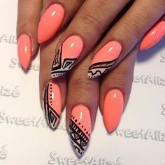 Orange Aztec Nail Idea
