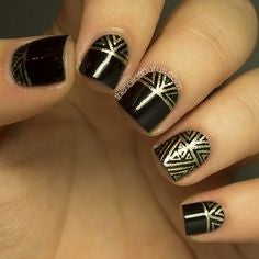 Black and Gold Aztec Nail Idea