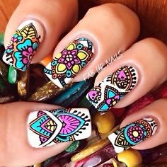 Colorful Aztec Nail Idea