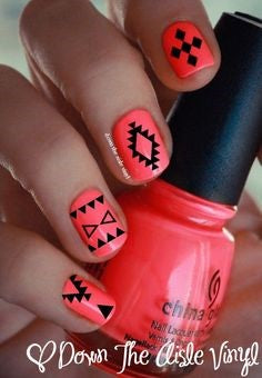 Red Aztec Nail Idea