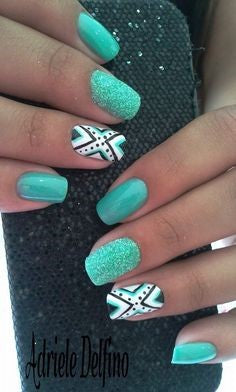 Light Green Aztec Nail Idea