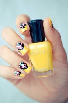 Yellow Aztec Nail Idea
