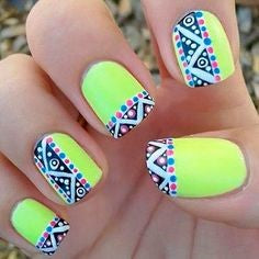 Light Yellow Aztec Nail Idea