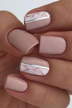 Marble and Nude Nail Design
