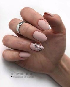 Oval Nude Nail Design