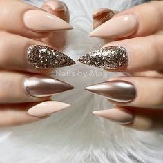 Metallic Nude Nail Design