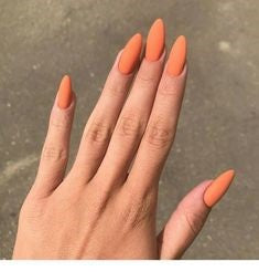 Oval Matte Orange Nail Idea