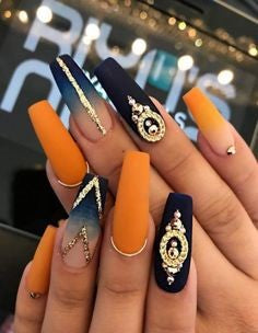 Black and Orange Nail Idea