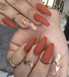 Sequins and Nude Orange Nail Idea