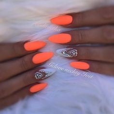 Rhinestone Orange Nail Idea