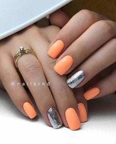 Metallic Silver and Orange Nail Idea