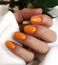 Orange Short Nail Idea